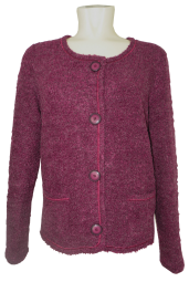 Leichte Boucle`Strickjacke in Purpur