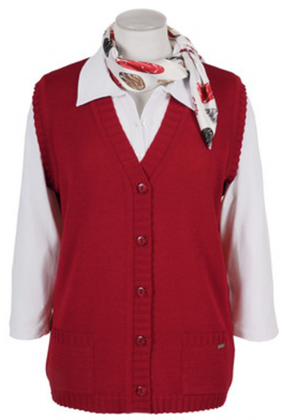 Cardigan Strickweste als 5-Knopf in rot