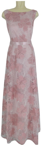 Langes Ballkleid in rose-cream