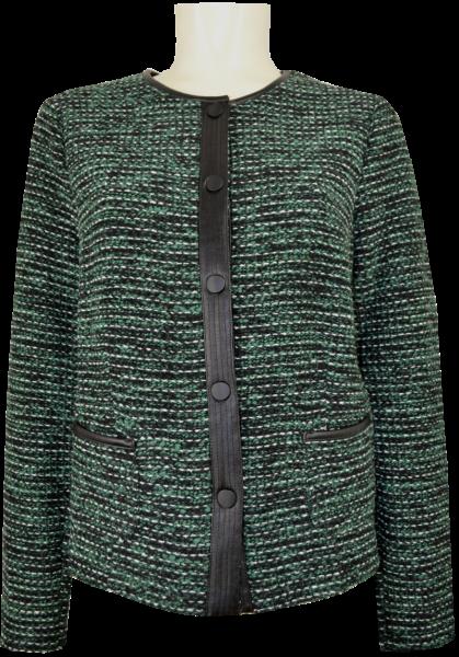 Blazer-Strickjacke mit Lederapplikationen