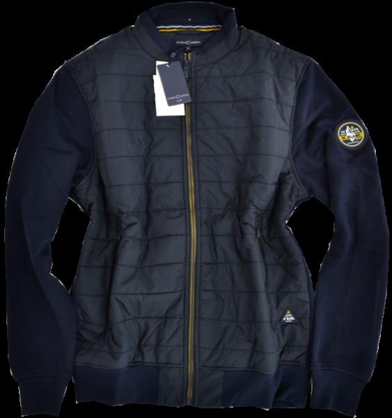 Stepp-Sweat-Jacke in marine blau mit RV