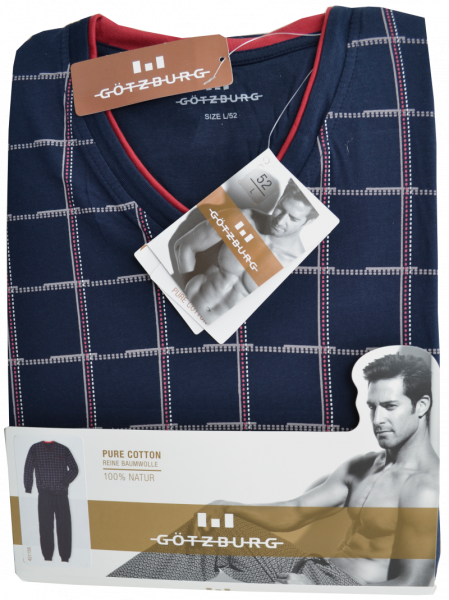 Herren Pyjama lang in mehrfarbig kariert mit blau