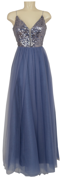 Langes Ballkleid in bleu