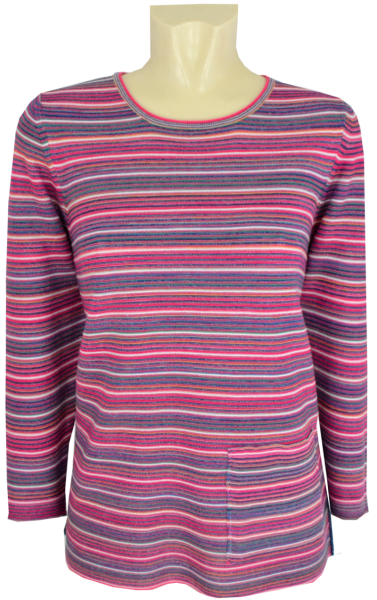 Leichter Pullover in mehrfarbig geringelt