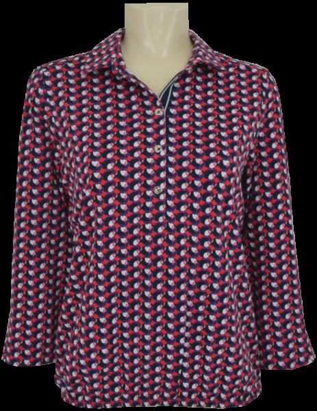 3/4 Arm Polo Shirt in allover gemustert