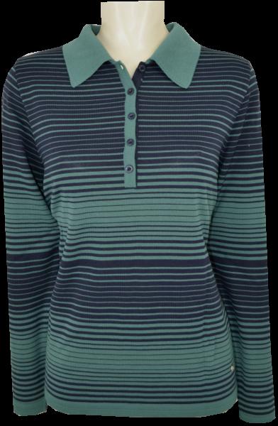 Pullover mit Kragen in marine-smaragd gemustert