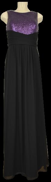 Langes Ballkleid in schwarz-lila
