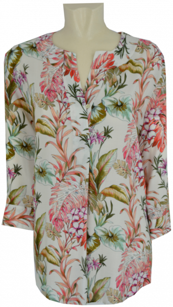 3/4 Arm Blusen Shirt in allover floral gemustert