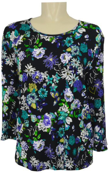 3/4 Arm T-Shirt in allover floral gemustert