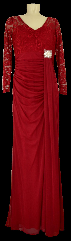 Langes Kleid der Marke LE KRESS in rot und modisch gerafft ...