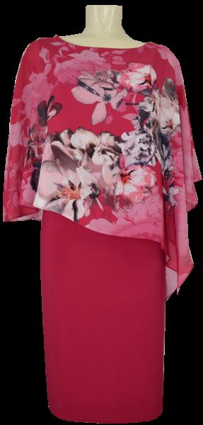 Mittellanges Kleid mit Volant in pink shades
