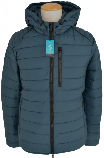 Outdoor Steppjacke in petrol mit Kapuze