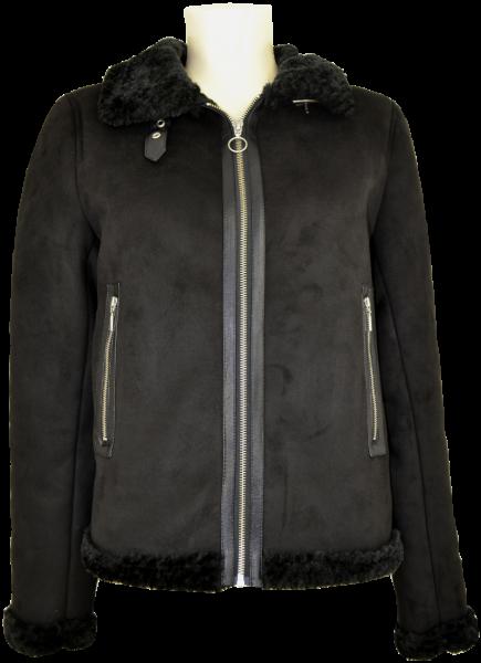 Warme Fake Leder Kurzjacke in schwarz
