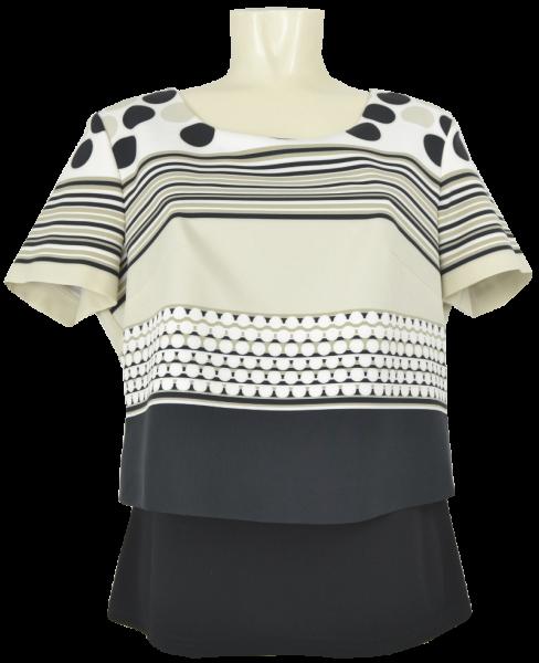 Shirt mit 1/2 Arm in natur-schwarz gemustert