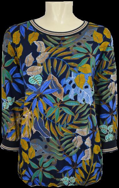 3/4 Arm Blusen-Shirt in mehrfarbig gemustert