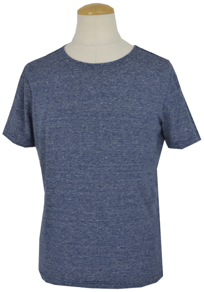 1/2 Arm Leinen T-Shirt in blau geringelt