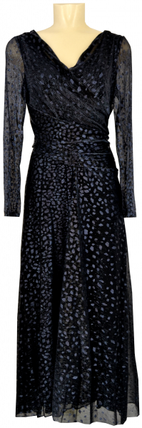Langes Ballkleid mit Glanz in blau-grau