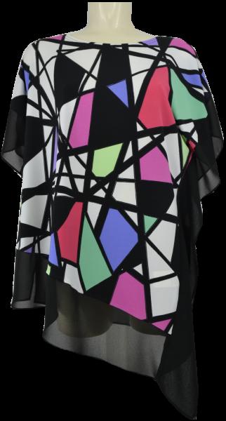 Longshirt in schwarz-multicolor floral gemustert