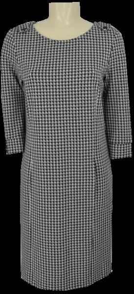 Strickkleid mit 3/4 Arm und Hahnentritt Muster in schwarz-weiß