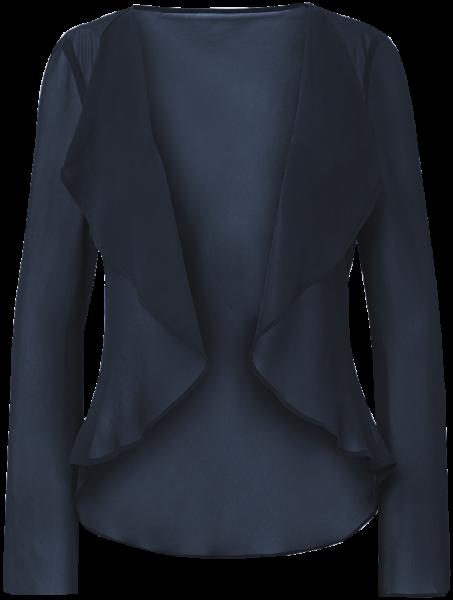 Chiffon Jacke mit Wasserfallkragen in marine blau