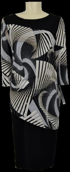 Mittellanges Kleid in allover retro gemustert