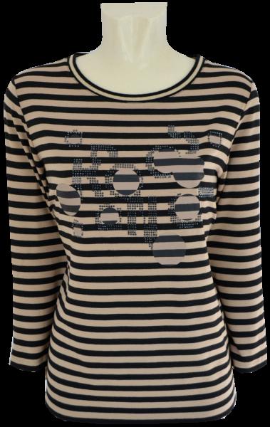 3/4 Arm T-Shirt in allover geringelt