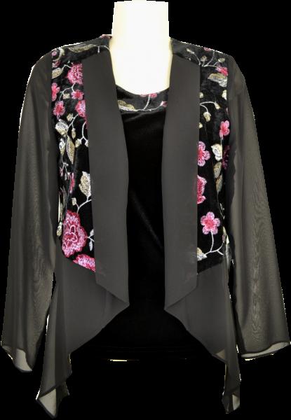 Jacke als offene Variante mit Top in schwarz-rosenholz
