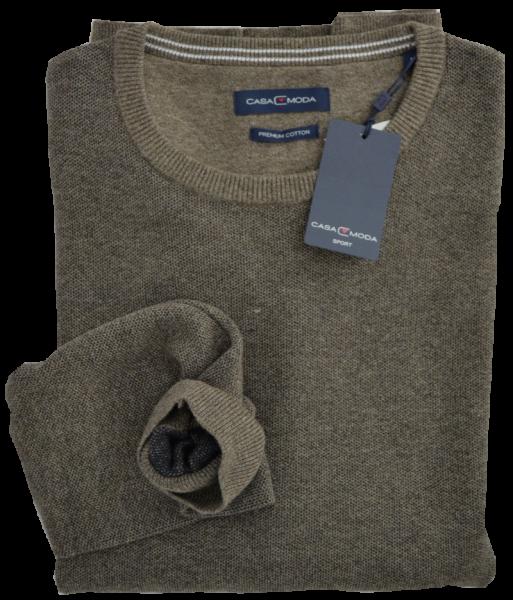 Pullover mit Rundhals in braun meliert