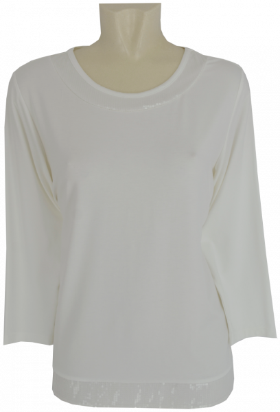 T-Shirt mit 3/4 Arm in offwhite