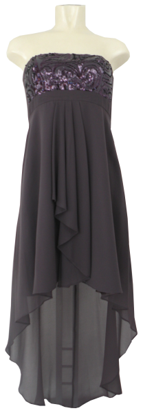 Ballkleid im Vokuhila-Stile in dark rosewood