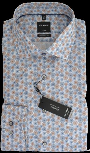 1/1 Arm Freizeithemd im Retro Dessin mit beige-blau