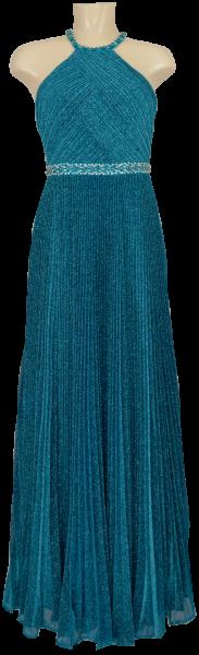 Langes Ballkleid mit Glanz in blue-petrol