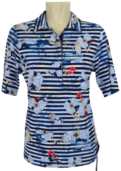 1/2 Arm Polo Shirt in allover floral gemustert
