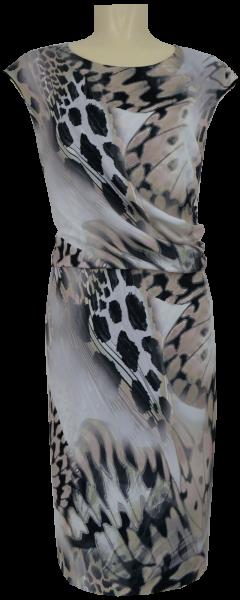 Mittellanges Kleid in natur-grau-schwarz gemustert