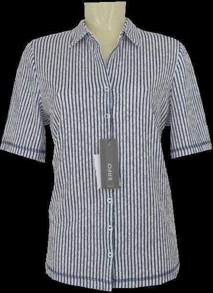 1/2 Arm Jersey Bluse in weiß-blau