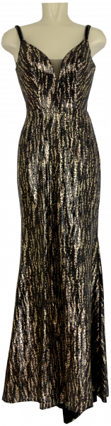 Ballkleid lang in brown-gold