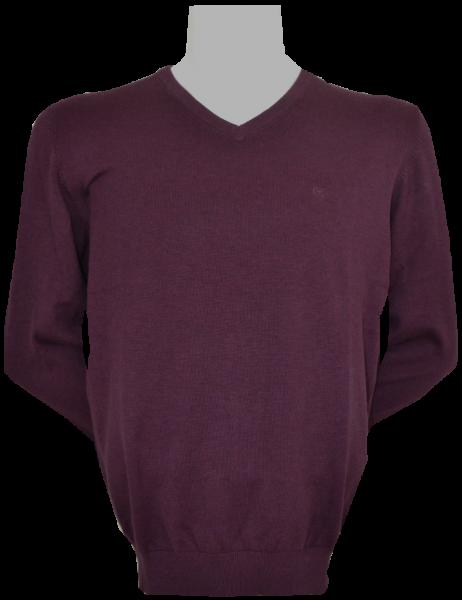 Pullover mit V-Ausschnitt in berry