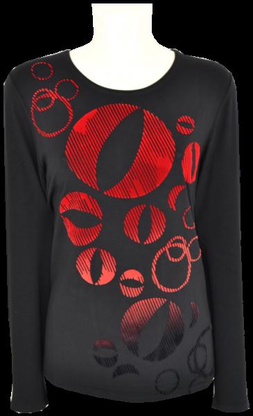 1/1 Shirt in schwarz-rot mit Print