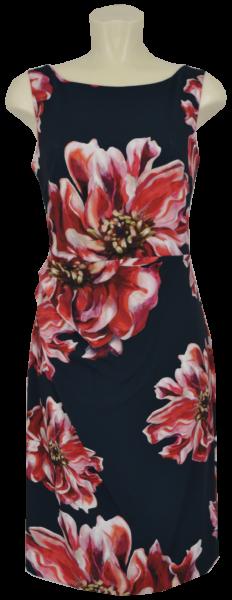 Etui Kleid in allover red-pink-black floral gemustert