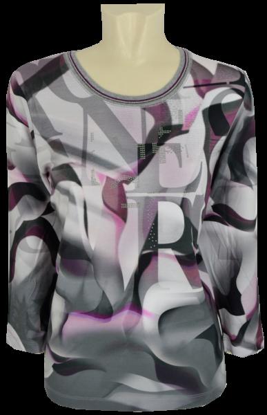 3/4 Arm T-Shirt in allover gemustert mit malve
