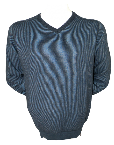 Pullover mit V-Neck in blau gemustert