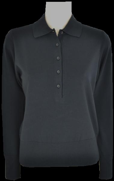 Pullover mit Kragen in uni schwarz