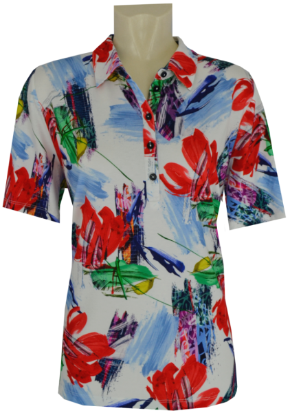 1/2 Arm Polo Shirt in floral gemustert