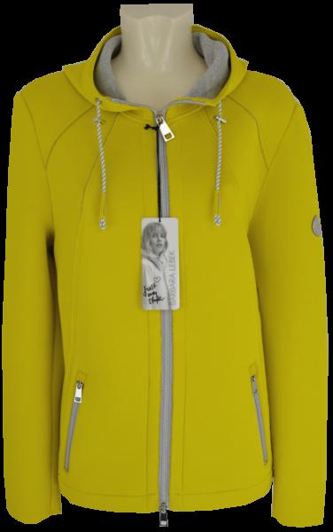 Leichte Soft Shell Outdoor Jacke mit Kapuze in gelb