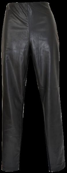Fake Lederhose in schwarz mit Ziernaht