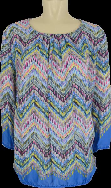 3/4 Arm Blusen Shirt in mehrfarbig gemustert