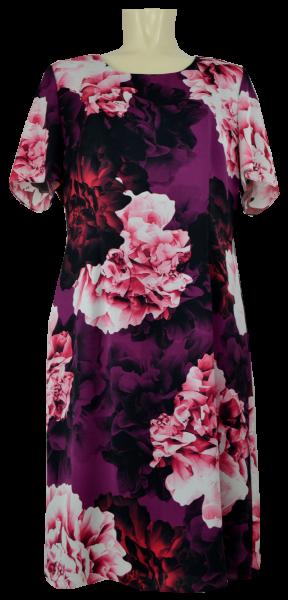 Kleid mit floralem Druck und 1/2 Arm in beere-schwarz