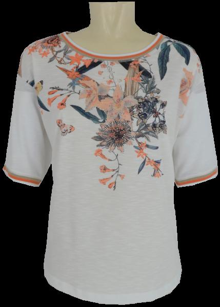 1/2 Arm Shirt mit floralem Druck und Glanz