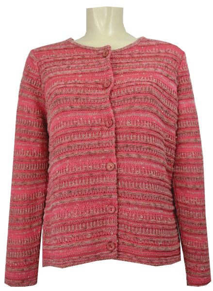 Strickjacke in koralle gemustert