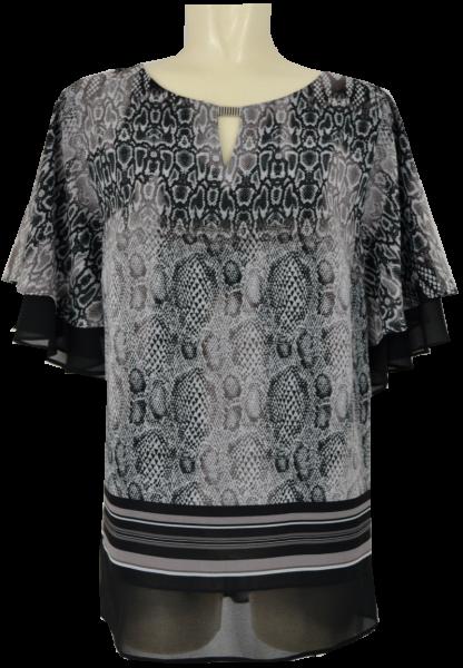 Festliches Shirt in grau-beige-schwarz gemustert